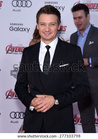 "LOS ANGELES - APR 14:  Jeremy Renner arrives to the Marvel's ""Avengers: Age of Ultron"" World Premiere  on April 14, 2015 in Hollywood, CA                 - stock photo"