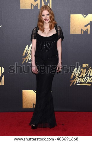 LOS ANGELES - APR 09:  Jessica Chastain arrives to the Mtv Movie Awards 2016  on April 09, 2016 in Hollywood, CA.                 - stock photo