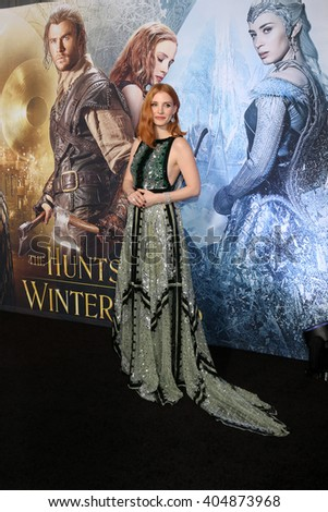 LOS ANGELES - APR 11:  Jessica Chastain at the The Huntsman Winter's War American Premiere at the Village Theater on April 11, 2016 in Westwood, CA - stock photo