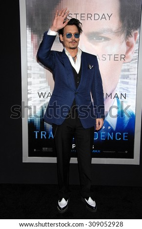 LOS ANGELES - APR 10:  Johnny Depp arrives at the TRANSCENDENCE LOS ANGELES PREMIERE   on April 10, 2014 in Westwood, CA                 - stock photo
