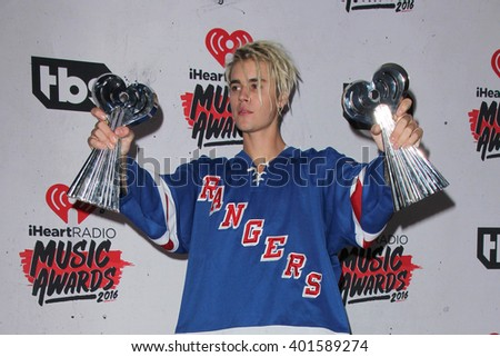 LOS ANGELES - APR 3:  Justin Bieber at the iHeart Radio Music Awards 2016 Press Room at the The Forum on April 3, 2016 in Inglewood, CA - stock photo