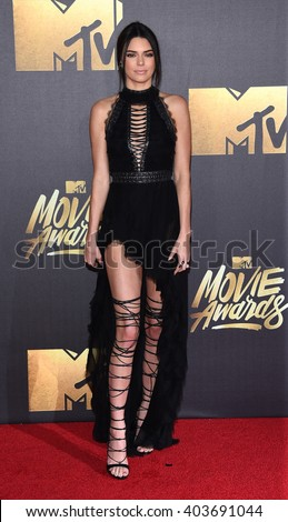 LOS ANGELES - APR 09:  Kendall Jenner arrives to the Mtv Movie Awards 2016  on April 09, 2016 in Hollywood, CA.                 - stock photo