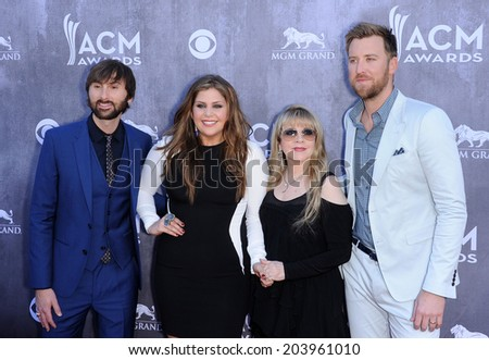 LOS ANGELES - APR 06:  Lady Antebellum & Stevie Nicks arrives to the 49th Annual Academy of Country Music Awards   on April 06, 2014 in Las Vegas, NV.                 - stock photo