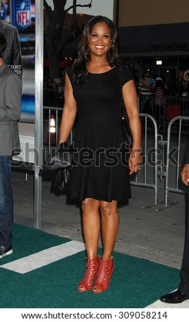 LOS ANGELES - APR 7:  Laila Ali  arrives at the DRAFT DAY LOS ANGELES PREMIERE   on April 7, 2014 in Westwood, CA                 - stock photo