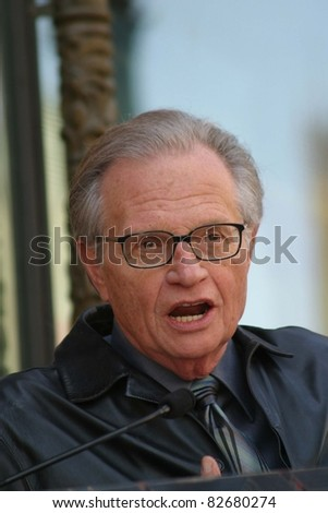 LOS ANGELES - APR 10: Larry King at a ceremony where Regis Philbin receives the 2222th star in Los Angeles, California on April 10, 2003 - stock photo
