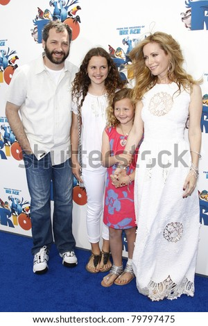 LOS ANGELES - APR 10:  Leslie Mann, Judd Apatow, their daughters at the 'Rio' Los Angeles Premiere at Grauman's Chinese Theatre in Los Angeles, California on April 10, 2011. - stock photo