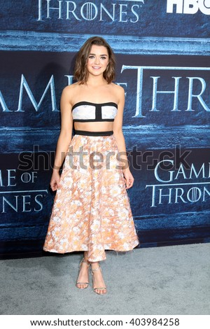 LOS ANGELES - APR 10:  Maisie Williams at the Game of Thrones Season 6 Premiere Screening at the TCL Chinese Theater IMAX on April 10, 2016 in Los Angeles, CA - stock photo
