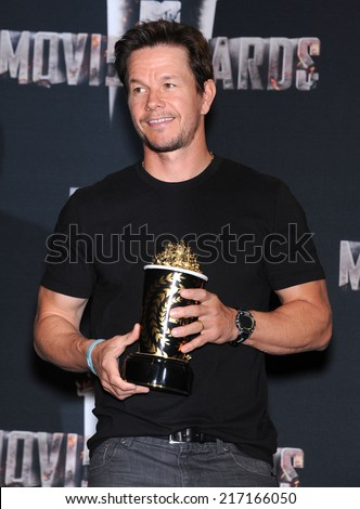 LOS ANGELES - APR 13:  Mark Wahlberg in the 2014 MTV Movie Awards - Press Room  on April 13, 2014 in Los Angeles, CA.                 - stock photo