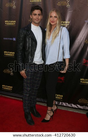 LOS ANGELES - APR 27:  Max Ehrich, Veronica Dunne at the 2016 Daytime EMMY Awards Nominees Reception at the Hollywood Museum on April 27, 2016 in Los Angeles, CA - stock photo