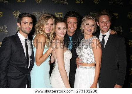 LOS ANGELES - APR 26:  Max Erlich, Melissa Ordway, Hunter King, Matthew Atkinson, Kelli Goss, Lachlan Buchanan at the 2015 Daytime Emmy Awards at Warner Bros on April 26, 2015 in Los Angeles, CA - stock photo