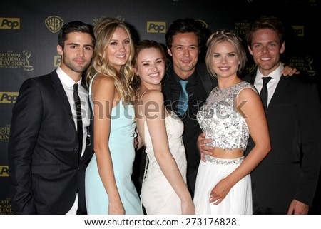 LOS ANGELES -APR 26: Max Erlich, Melissa Ordway, Hunter King, Matthew Atkinson, Kelli Goss, Lachlan Buchanan at the 2015 Daytime Emmy Awards at the Warner Brothers on April 26, 2015 in Los Angeles, CA - stock photo