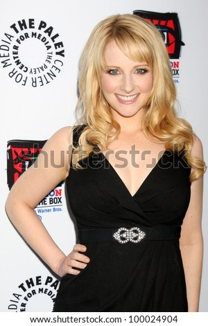 "LOS ANGELES - APR 12:  Melissa Rauch arrives at Warner Brothers ""Television: Out of the Box"" Exhibit Launch at Paley Center for Media on April 12, 2012 in Beverly Hills, CA - stock photo"