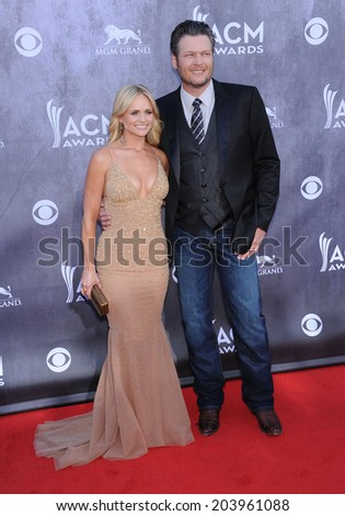 LOS ANGELES - APR 06:  Miranda Lambert & Blake Shelton arrives to the 49th Annual Academy of Country Music Awards   on April 06, 2014 in Las Vegas, NV.                 - stock photo