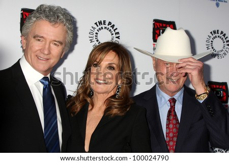 "LOS ANGELES - APR 12:  Patrick Duffy, Linda Gray, Larry Hagman arrives at Warner Brothers ""Television: Out of the Box"" Exhibit Launch at Paley Center for Media on April 12, 2012 in Beverly Hills, CA - stock photo"