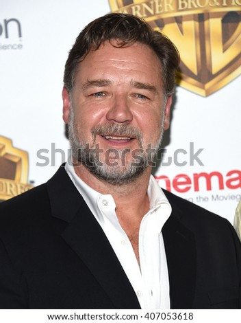 "LOS ANGELES - APR 12: Russell Crowe arrives to CinemaCon 2016: Warner Bros. ""The Big Picture"" Presentation April 12, 2016 in Las Vegas, NV.                 - stock photo"