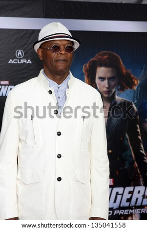 """LOS ANGELES - APR 11:  Samuel L. Jackson arrives at """"The Avengers"""" Premiere at El Capitan Theater on April 11, 2012 in Los Angeles, CA - stock photo"""