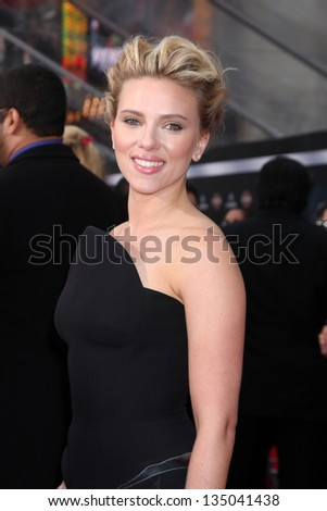 "LOS ANGELES - APR 11:  Scarlett Johansson arrives at ""The Avengers"" Premiere at El Capitan Theater on April 11, 2012 in Los Angeles, CA - stock photo"