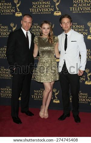LOS ANGELES - APR 24: Sean Carrigan, Hunter King, Lachlan Buchanan at The 42nd Daytime Creative Arts Emmy Awards Gala at the Universal Hilton Hotel on April 24, 2015 in Los Angeles, California - stock photo