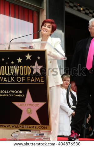 LOS ANGELES - APR 11:  Sharon Osbourne at the Harvey Fierstein and Cyndi Lauper Hollywood Walk of Fame Ceremony at the Pantages Theater on April 11, 2016 in Los Angeles, CA - stock photo