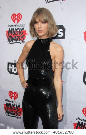 LOS ANGELES - APR 3:  Taylor Swift at the iHeart Radio Music Awards 2016 Arrivals at the The Forum on April 3, 2016 in Inglewood, CA - stock photo