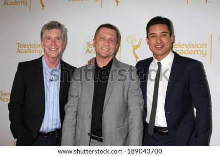 "LOS ANGELES - APR 9:  Tom Bergeron, Todd Thicke, Mario Lopez at the An Evening with ""America's Funniest Home Videos"" at Academy of Television Arts and Sciences on April 9, 2014 in North Hollywood, CA - stock photo"