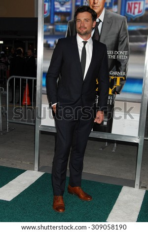 LOS ANGELES - APR 7:  Tom Welling arrives at the DRAFT DAY LOS ANGELES PREMIERE   on April 7, 2014 in Westwood, CA                 - stock photo
