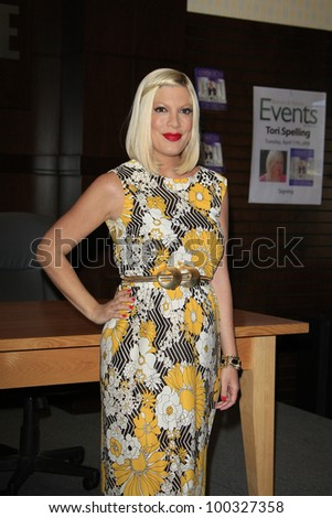 LOS ANGELES - APR 17: Tori Spelling at a signing for her book 'celebraTORI' at Barnes & Noble at The Grove on April 17, 2012 in Los Angeles, California - stock photo