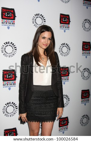 "LOS ANGELES - APR 12:  Torrey DeVitto arrives at Warner Brothers ""Television: Out of the Box"" Exhibit Launch at Paley Center for Media on April 12, 2012 in Beverly Hills, CA - stock photo"