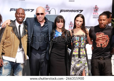 LOS ANGELES - APR 1:  Tyrese Gibson, Vin Diesel, Michelle Rodriguez, Jordana Brewster, Ludacris at the Vin Diesel Print Ceremony at the TCL Chinese Theater on April 1, 2015 in Los Angeles, CA - stock photo