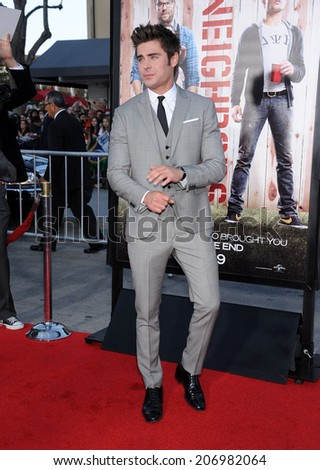"LOS ANGELES - APR 13:  Zac Efron arrives to the ""Neighbors"" World Premiere  on April 28, 2014 in Westwood, CA.                 - stock photo"