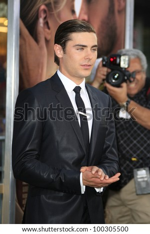 LOS ANGELES - APR 16: Zac Efron at the premiere of Warner Bros. Pictures' 'The Lucky One' at Grauman's Chinese Theatre on April 16, 2012 in Los Angeles, California