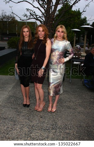 "LOS ANGELES - APR 13:  Zoey Deutch, Lea Thompson, Madelyn Deutch arrives at the ""What A Pair!"" Benefit Concert  at the The Broad Stage  on April 13, 2013 in Santa Monica, CA"