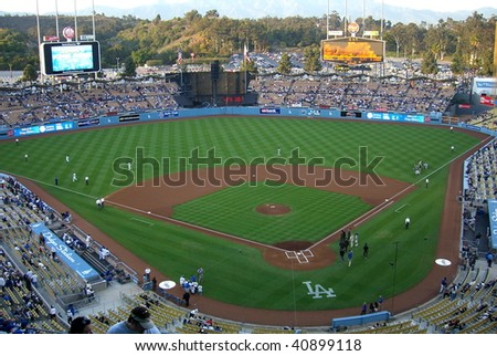 LOS ANGELES - APRIL 25: Dodger fans await a spring baseball game at Dodger Stadium on April 25, 2007 in Los Angeles, California.
