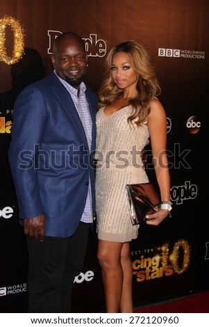 """LOS ANGELES - April 21:  Emmit Smith at the """"Dancing With the Stars"""" 10 Year Anniversary Party at the Greystone Manor on April 21, 2015 in West Hollywood, CA - stock photo"""