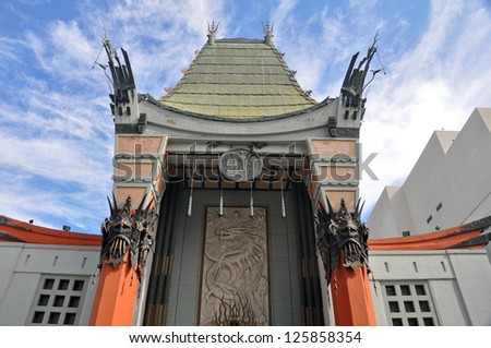 LOS ANGELES - APRIL 10: Grauman's Chinese Theater in Los Angeles, CA on April. 10, 2011. Located on Hollywood Boulevard, footprints and handprints of celebrities are located in front of the building. - stock photo
