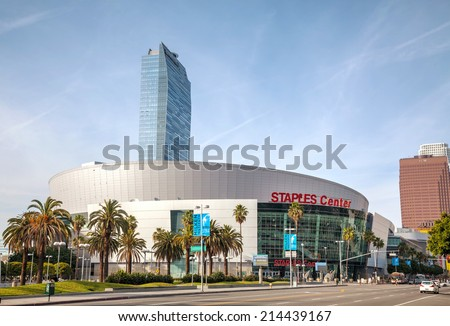 LOS ANGELES - APRIL 22: Staples Center building on April 22, 2014 in Los Angeles, California. Staples Center is a large multi-purpose sports arena in Downtown Los Angeles.