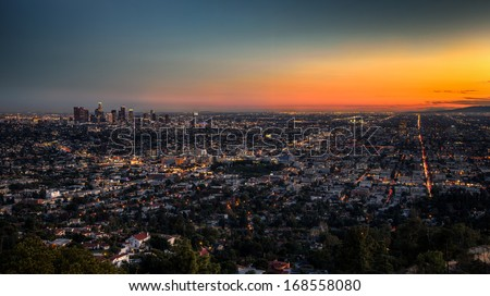 Los Angeles at Dusk - stock photo