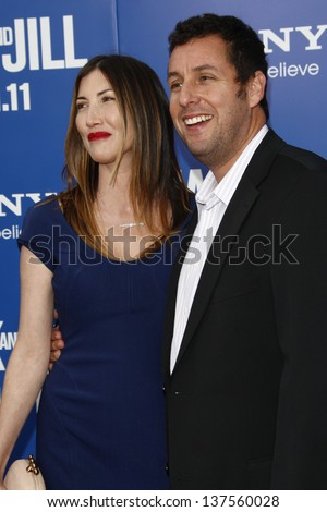 LOS ANGELES - AUG 6: Adam Sandler, wife Jackie at the World premiere of 'Jack And Jill' at Village Theater in Westwood, California on August 6, 2011 - stock photo