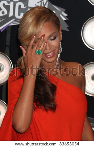 LOS ANGELES - AUG 28:  Beyonce Knowles arriving at the  2011 MTV Video Music Awards at the LA Live on August 28, 2011 in Los Angeles, CA - stock photo