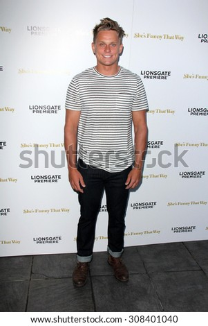 "LOS ANGELES - AUG 19:  Billy Magnussen at the ""She's Funny That Way"" Red Carpet Premiere at the Harmony Gold Theater on August 19, 2015 in Los Angeles, CA - stock photo"