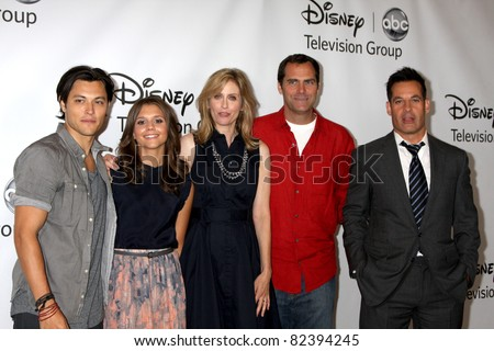 LOS ANGELES - AUG 7:  Blair Redford, Alexdra Chando, Helen Slater, Andy Buckley, Adrian Pasdar at the ABC Summer Press Tour at the Beverly Hilton Hotel on August 7, 2011 in Beverly Hills, CA
