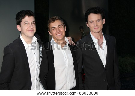 "LOS ANGELES - AUG 17:  Christopher Mintz-Plasse, Dave Franco and Anton Yelchin arriving at the  ""Fright Night"" Screening at ArcLight Theaters on August 17, 2011 in Los Angeles, CA"