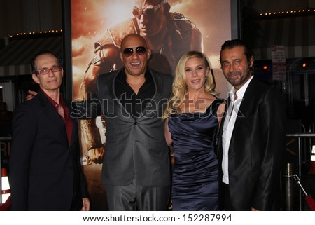 "LOS ANGELES - AUG 28:  David Twohy, Vin Diesel, Katee Sackhoff, Jordi Molla at the ""Riddick"" Premiere at the Village Theater on August 28, 2013 in Westwood, CA"