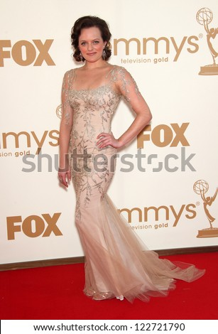 LOS ANGELES - AUG 11:  ELISABETH MOSS arriving to Emmy Awards 2011  on August 11, 2012 in Los Angeles, CA - stock photo