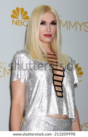 LOS ANGELES - AUG 25:  Gwen Stefani at the 2014 Primetime Emmy Awards - Press Room at Nokia Theater at LA Live on August 25, 2014 in Los Angeles, CA - stock photo