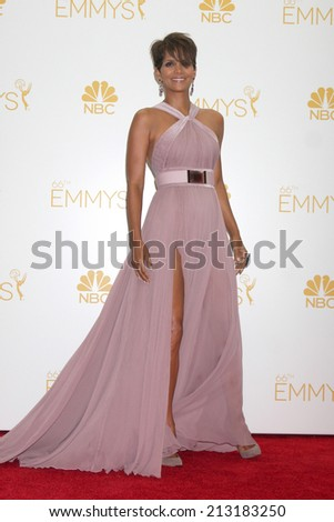 LOS ANGELES - AUG 25:  Halle Berry at the 2014 Primetime Emmy Awards - Press Room at Nokia Theater at LA Live on August 25, 2014 in Los Angeles, CA - stock photo
