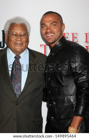 """LOS ANGELES - AUG 12:  James Lawson, Jesse Williams at the """"Lee Daniels' The Butler"""" LA Premiere at the Regal 14 Theaters on August 12, 2013 in Los Angeles, CA - stock photo"""
