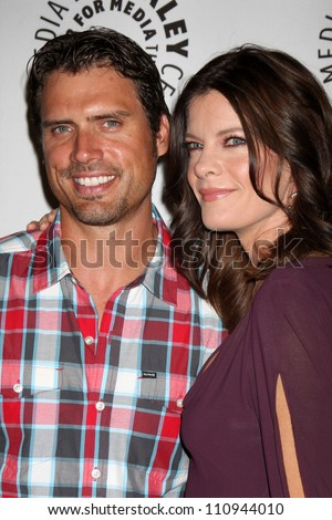 "LOS ANGELES - AUG 23:  Joshua Morrow, Michelle Stafford arrives at ""The Young & Restless"": Celebrating 10,000 Episodes at Paley Center for Media on August 23, 2012 in Beverly Hills, CA"