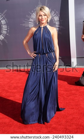 LOS ANGELES - AUG 24:  Julianne Hough arrives to the 2014 Mtv Vidoe Music Awards on August 24, 2014 in Los Angeles, CA                 - stock photo