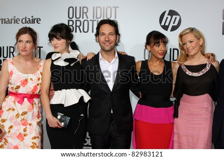 "LOS ANGELES - AUG 16: Kathryn Hahn, Zooey Deschanel, Paul Rudd, Rashida Jones, and Elizabeth Banks arrive at the ""Our Idiot Brother"" Premiere at ArcLight Theaters on August 16, 2011 in Los Angeles, CA"